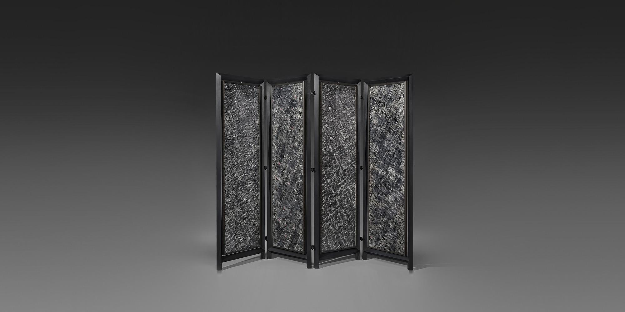 paravent janus en bois de poirier verre laque et b ne. Black Bedroom Furniture Sets. Home Design Ideas