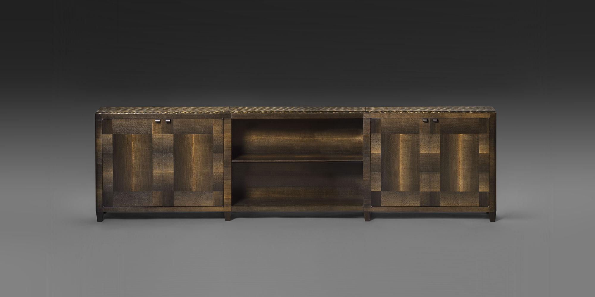 biblioth que basse en ch ne fossile des marais. Black Bedroom Furniture Sets. Home Design Ideas